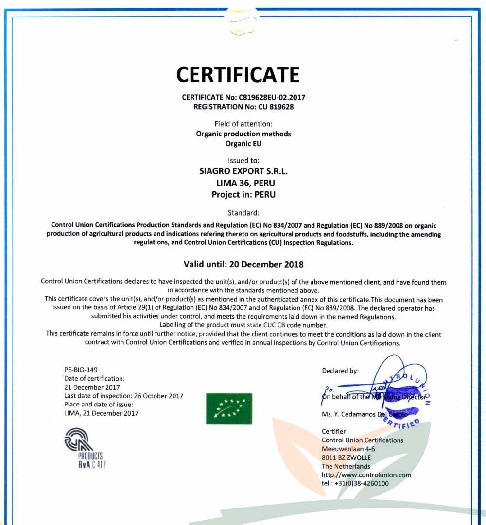 Certificado EU - Unión Europea