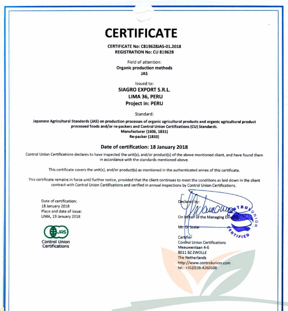 Certificado JAS - Japón