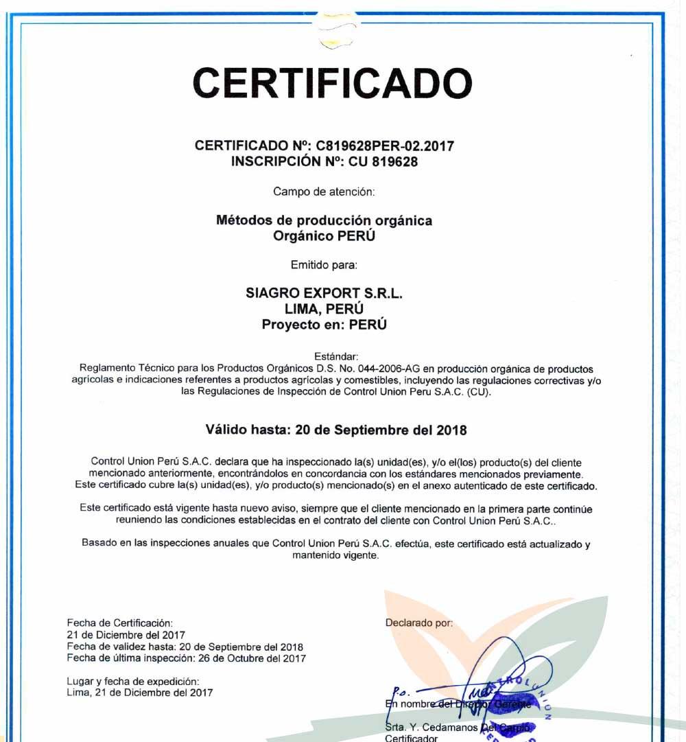 Certificado PERU