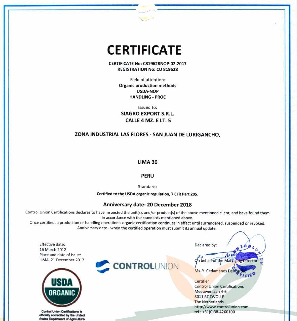Certificado USDA - EEUU